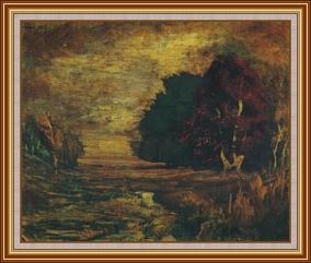 曇雲紅樹 - 油畫