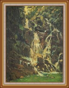 肇慶_七星岩之瀑 - 油畫
