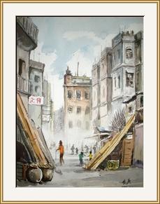 砵蘭街小巷 水彩