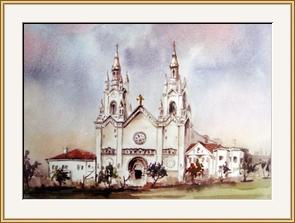 教堂 水彩