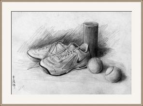 網球鞋和球