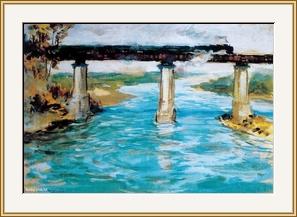 滹沱河鐵橋  - 水彩