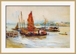 白鵝潭的紅帆  - 水彩