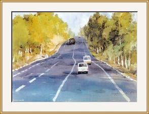 公路斜陽 - 水彩