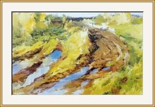 頓河原野的村道 - 水彩