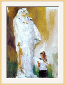 在巴爾扎克雕像前 - 水彩