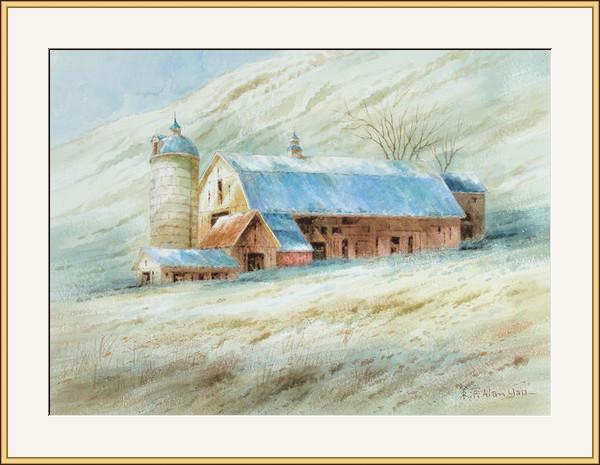 山坡農屋冬景
