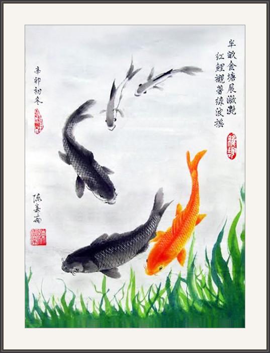 半畝金塘展瀲艷 紅鯉襯著綠波摇