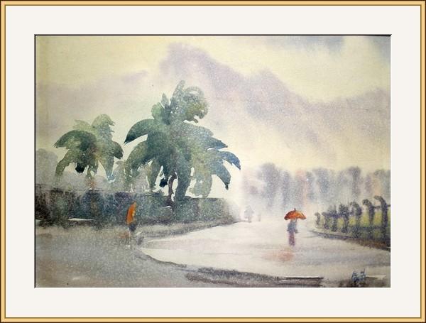雨中宋王台 水彩