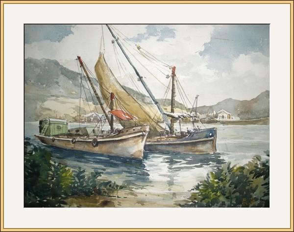 茶果嶺有圪泥船 水彩
